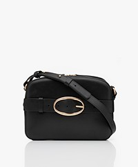 Vanessa Bruno Iris Calfskin Leather Shoulder/Cross-body Bag - Black