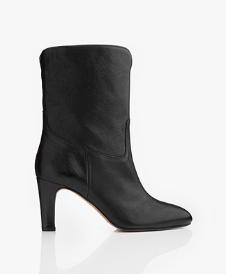 ba&sh Cidie High Leather Ankle Boots - Black