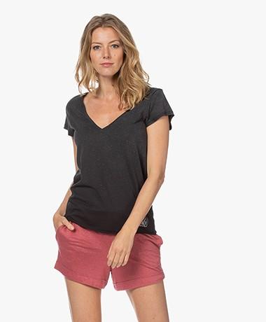 Zadig & Voltaire Cruz Glitter ZV V-hals T-shirt - Zwart