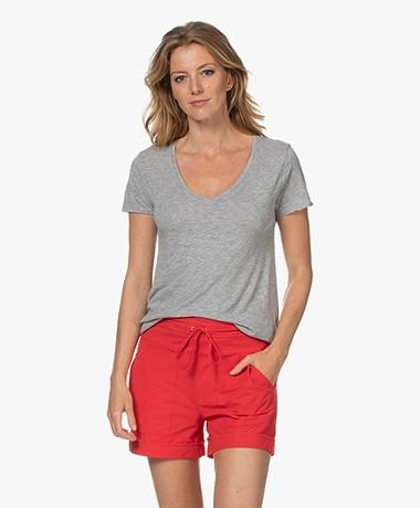 American Vintage Jacksonville V-neck T-shirt - Heather Grey