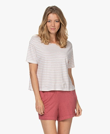Denham Marine Gestreept T-shirt - Rose Smoke