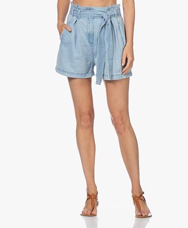 Rails Belle High-rise Denim Paperbag Shorts - Light Vintage
