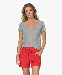 American Vintage Jacksonville V-hals T-shirt - Grijs Mêlee