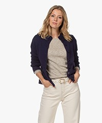 LaSalle Wool and Viscose Blend Button-Through Cardigan - Navy