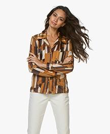 SIYU Cubos Jersey Print Blouse - Multicolored