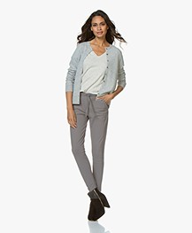 Repeat Luxury Cashmere Short Cardigan - Light Grey