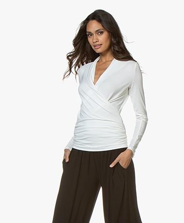 LaSalle Lyocell Jersey Wrap T-shirt - Panna