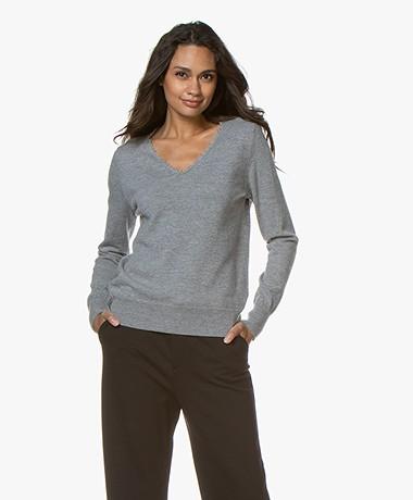 no man's land V-neck Sweater with Fringes - Concrete Melange