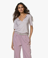 by-bar Loisa Linen T-shirt - Lilac Grey