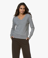 no man's land V-neck Sweater with Fringes - Concrete Melange