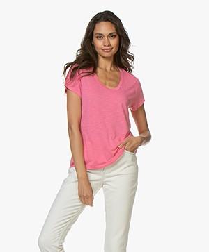American Vintage Jacksonville Ronde Hals T-shirt - Raspberry Bush