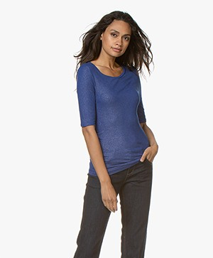 Majestic Filatures Lurex T-shirt with Half-length Sleeves - Sapphire Blue
