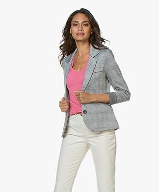 Repeat Checkered Jersey Blazer - Black/White