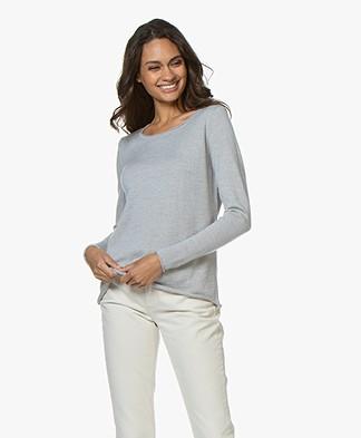 Sibin/Linnebjerg Maria Fine Knit Merino Sweater - Light Grey Melange