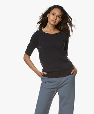Closed Cashmere Short Sleeve Sweater - Dark Night
