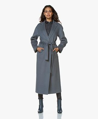 Filippa K Alexa Cashmere Blend Woolen Coat - Blue Grey