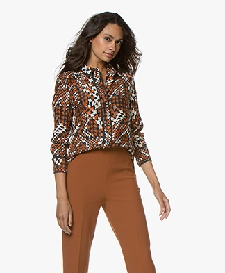 Equipment Leema Zijden Print Blouse - Eclipse Multi