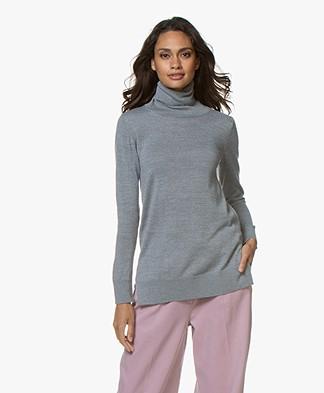 LaSalle Wool Blend Turtleneck Sweater - Grey