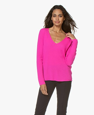 Majestic Filatures Cashmere Blend V-neck Sweater - Rose Fluor
