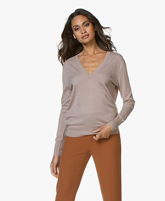 Filippa K Silk Mix V-Neck Trui - Powder