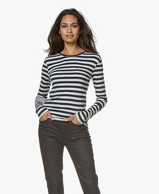 Petit Bateau Striped Cotton Long Sleeve - Smoking/Beluga
