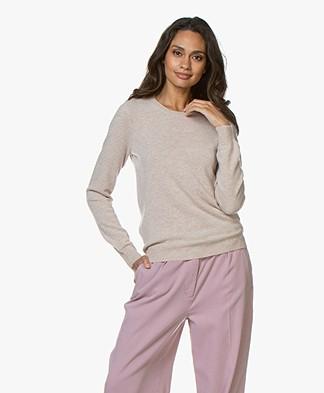 Repeat Round Neck Cashmere Sweater - Beige