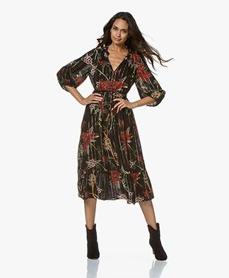ba&sh Patty Printed Midi Dress with Lurex - Black