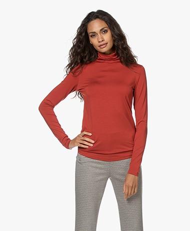 LaSalle Tencel Jersey Colshirt - Chili