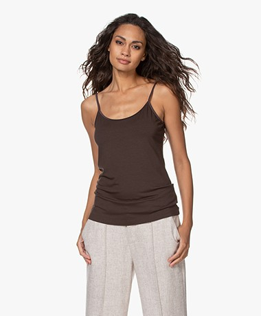 no man's land Viscose Singlet - Espresso