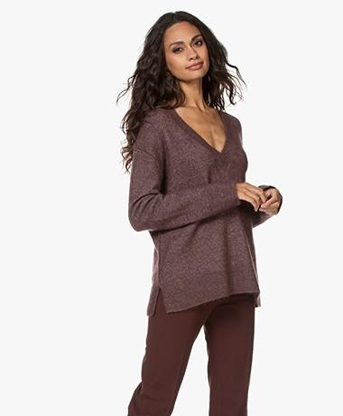By Malene Birger Bisana Oversized V-neck Sweater - Dark Plum