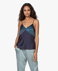 ba&sh Culte Satin V-neck Top - Dark Blue