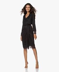HANRO Wanda Modal-Silk Jersey Kimono with Lace - Black