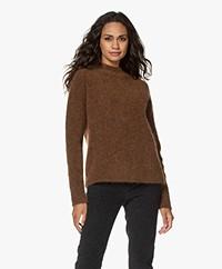 no man's land Mohair and Wool Blend Sweater - Dark Cognac