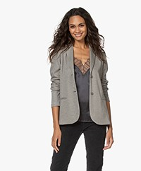 no man's land Printed Jacquard Jersey Blazer - Steel