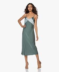 ba&sh Crew Satin Slip Midi Dress - Jade