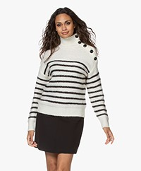 MKT Studio Kurma Intarsia Striped Turtleneck Sweater - Ecru