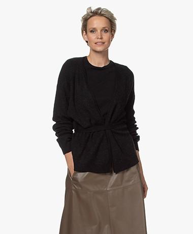 Closed Knitted Wrap Cardigan - Black Melange