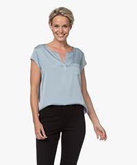 Repeat Silk Cap Sleeve Blouse - Aqua