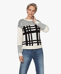 Denham Olive Sweater with Check and Stripe Pattern - Icicle White