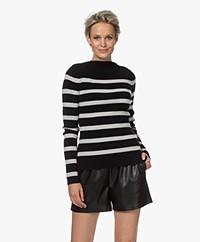 Woman by Earn Lory Stripes Boothals Trui - Zwart