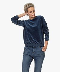 by-bar Teddy Velvet Jersey Sweater - Dark Indigo Blue