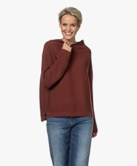 no man's land Rib Knitted Wool Turtleneck Sweater - Wine