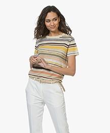 Vanessa Bruno Lucida Gestreept Linnenmix T-shirt - Multicolored