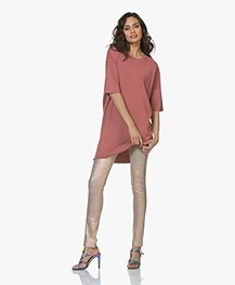 Drykorn Amari Viscose Crepe Jersey Dress - Terracotta Pink