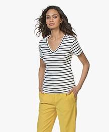 Petit Bateau Gestreept V-hals T-shirt - Marshmallow/Smoking