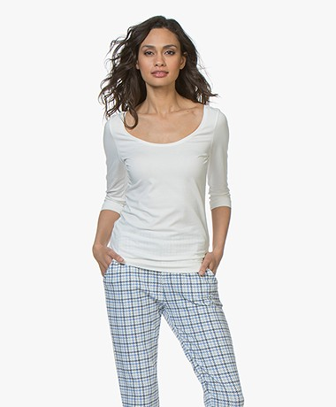 Josephine & Co Cher T-Shirt with Cropped Sleeves - Off-white
