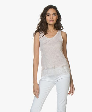 Majestic Filatures Linen Jersey Top with Lace - Rose Thé