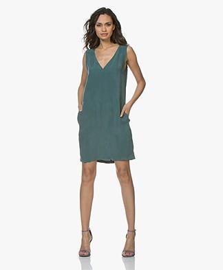 Drykorn Serina Sleeveless Cupro Tunic Dress - Bottle Green