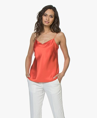 Joseph Sten Silk Satin Top - Tomato