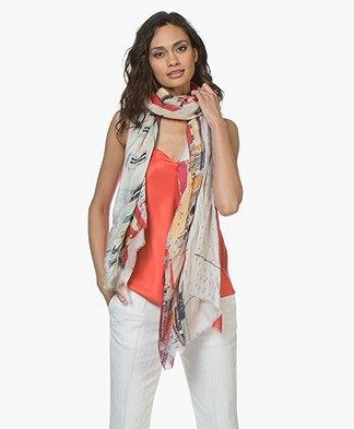 LaSalle Silk Blend Scarf with Print - Multi